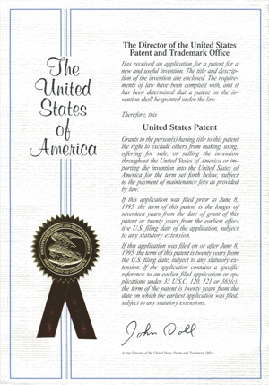 The USA Patent Certificate